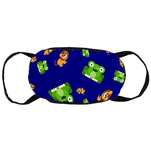 Stofvervuilingsmasker, marineblauw kikker & leeuw patroon, zwart oor puur katoen masker, Geschikt voor mannen en vrouwen maskers