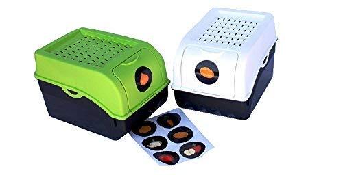 Rival 2 x Vorratsdose für Kartoffeln, Gemüse, Obst, Zwiebeln, Aufbewahrungsbox, Kunststoff, Volumen von 7,7 Liter, Größe ca. 29 x 19 x 19 cm (L x H x B) (Set 2 Boxen) (Grün und Weiß)