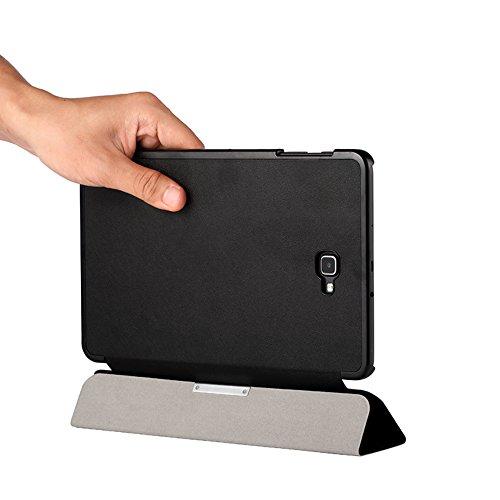 EasyAcc Hülle kompatibel für Samsung Galaxy Tab A 10.1 T580/ T585, Hochwertiges PU Leder Case Schutzhülle - mit Automatischem Schlaf Funktion und Standfunktion (Schwarz, Ultra Dünn)
