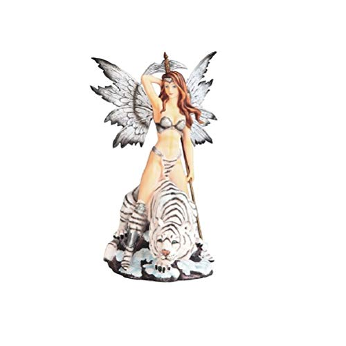 Unknown1 14' h Black and White Warrior Fairy with Tiger Spear Statue Fantasy Decoration Figurine Polyresin