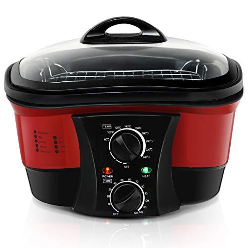 DREAMADE Multikocher Slow Cooker Schongarer Multicooker mit Temperaturregler inkl. Dampfständer, Frittierkorb, Spieße 5L 1500W Digitalanzeige 33.5x33.5x27cm Farbewahl