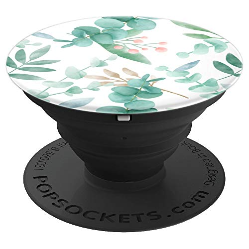 Eucalyptus green blossom watercolor floral branches leaves PopSockets Grip and Stand for Phones and Tablets
