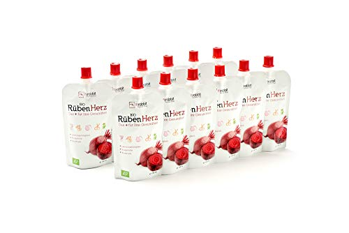FITRABBIT BIO Rüben Herz [12 x 100 ml Beutel] - Für Leistungsfähigkeit, Blutdruck & Blutgefäße - Enthält Rote Beete, Granatapfel, Sauerkirsche, Kräuter, Gewürze und Acerola