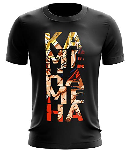 Stylotex Fitness T-Shirt Herren Sport Shirt Kamehameha Gym Tshirts für Performance beim Training | Männer Kurzarm | Funktionelle Sport Bekleidung, Größe:L, Farbe:schwarz