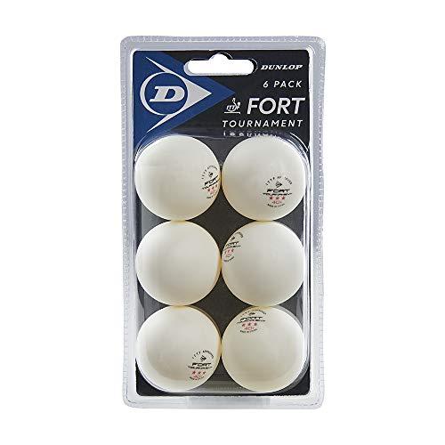 Dunlop Fort Tournament 6 palline da ping pong bianche, confezione da 6 palline professionali certificate ITTF, 3 stelle, per interni ed esterni, competizione, giocatori avanzati di squadre e tornei