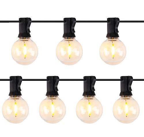 SALCAR Lichterkette Außen Led Lichterkette Glühbirnen G40 Beleuchtung 25 LED Birnen 10 m IP44 Wasserdicht Lichterkette für Party,Garten,Terrasse,Bäume,Hof-Warmes Weiß