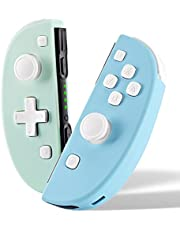FUNLAB Switch Controller Replacement for Nintendo Switch JoyCon,Cute Joy con Remote with Vibration/Motion Functions and Joy-con Grip for Animal Crossing Fans(Turquoise/Green)