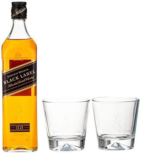 Johnnie Walker Black Label, Geschenkpackung mit 2 Gläsern Blended Whisky (1 x 0.7 l)