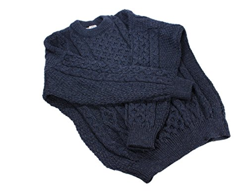 Aran Wool Sweater Men's and Women's Cable Knit Denim Crew Neck 100% Lambswool Made in Ireland Small