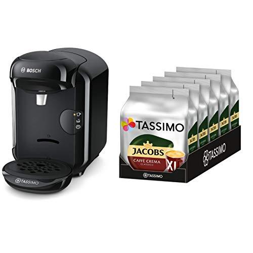 Bosch Tassimo TAS1402 Kapselmaschine + Tassimo Jacobs Caffè Crema Classico XL, 5er Pack Kaffee T Discs (5 x 16 Getränke)
