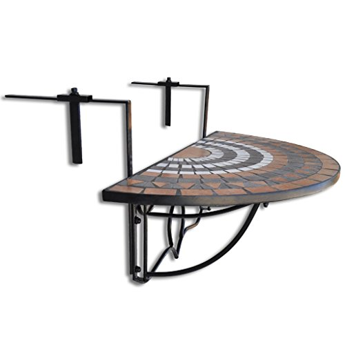 Anself Mosaico Tavolino Pieghevole da Balcone d'attaccatura Semicircolare Terracotta Bianca