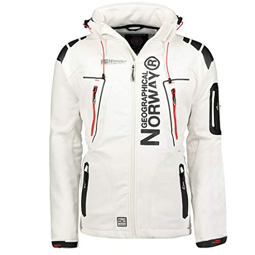 Geographical Norway Techno Softshelljacke Herren, Abnehmbare Kapuze L weiß