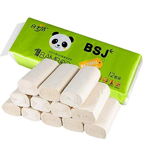 Huishoudelijk kernloos rolpapier 12 rollen 4 lagen gedikt toiletpapier van bamboecellulosezijdezacht, glad en zacht licht biologisch afbreekbaar zachtheid, toiletten, keukens