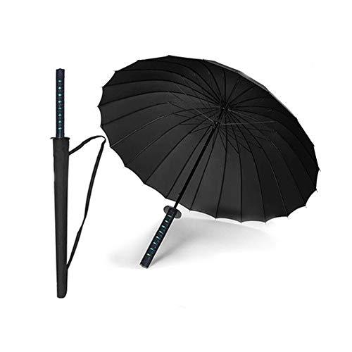 LGFB Samurai Regenschirm Sonnenschutz verrutschsicheren Griff für die einfache Durchführung Bumbershoot wasserdicht Auto Tuch windundurchlässige Verschiedene Größen Sonnenschirm schwarz,24bones