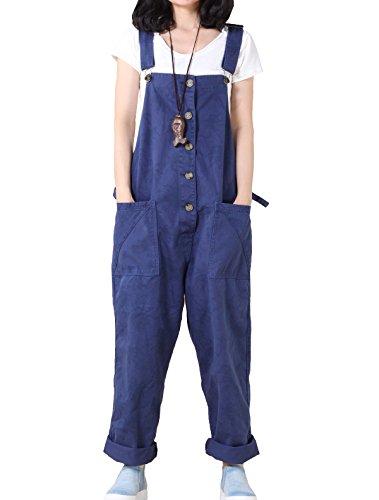 Vogstyle Damen-Overall, lässiger Druck, Denim-Hose Gr. Größe, Style 1-blau