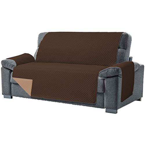 Desconocido Funda Cubre Sofá de 3 Plazas Relax. Fabricado en España. Funda de Sofá y Sillón Reversible y Acolchada. Protector para Sofá Reclinable. Funda para Butaca Orejera Color Marrón