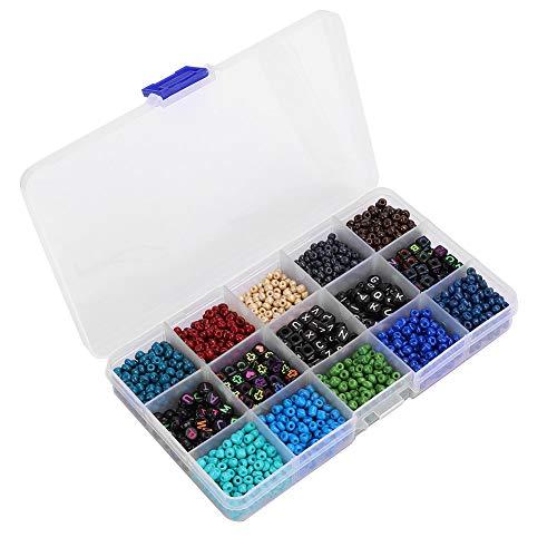 wxf DIY Craft Runde Quadrate Perlen Kit, Armband Halsketten Handwerk Schmuckherstellung