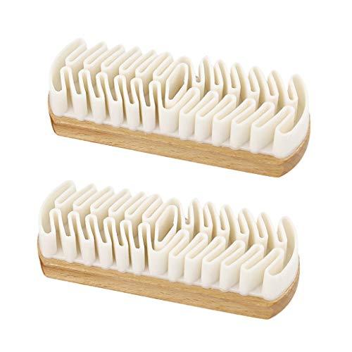 MagiDeal Cepillo de Limpieza de Zapatos 2pcs para Herramientas de Pulido de Zapatos de Cuero Nobuck de Gamuza Crepé