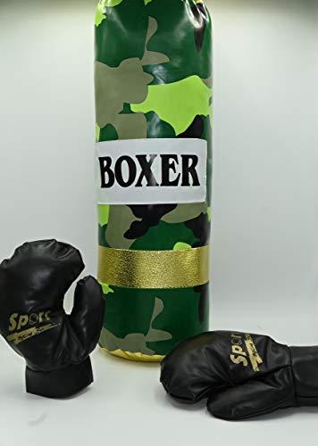 ML Set Juego DE Boxeo con Guantes Y Saco para NIÑOS Mayor DE 3 AÑOS Idea DE Regalo Verde (Verde) 55X20CM