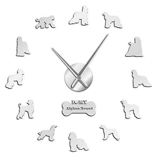 Wall Clockirish Setter DIY Reloj de Pared Gigante Gundog Dog Breed Sin Marco Reloj de Arte de Pared Red Setter Decorativo Reloj de Pared Grande Decoración de Tienda de Mascotas