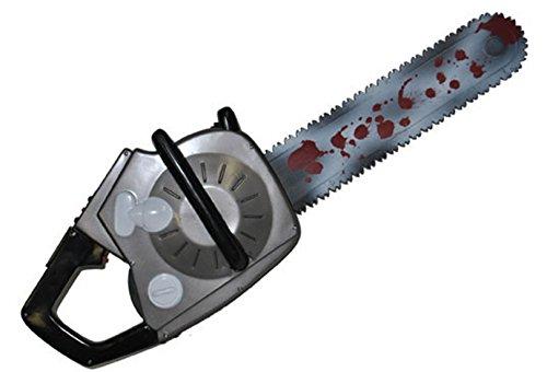Karnevalsbud - Halloween Kostüm Motorsäge mit Geräusch Sound- Waffe Horror Grusel, 73cm, Mehrfarbig