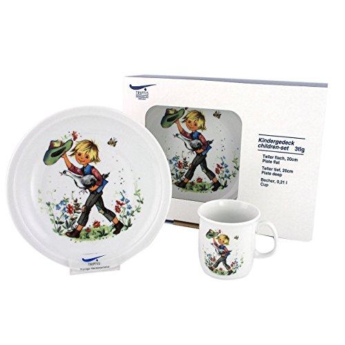 Triptis-Porzellan Hans im Glück Kindergedeck, 3 teilig Kindergeschirr