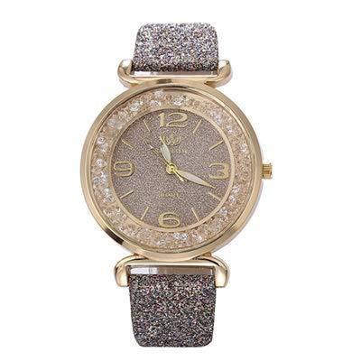 JZDH Relojes para Mujer Reloj Moda Mujeres Relojes Cristal Rhinestone Acero Inoxidable Rellatos de Pulsera de Cuarzo Relojes Decorativos Casuales para Niñas Damas (Color : Grey)