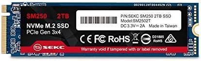 【Amazon.co.jp 限定】SEKC SSD 2TB NVMe M.2 2280 PCIe Gen3.0x4 SSD (内蔵型) 3D NAND搭載 最大読出速度2000MB/s、最大書込速度1150MB/s 3年間保証 - SM2502T