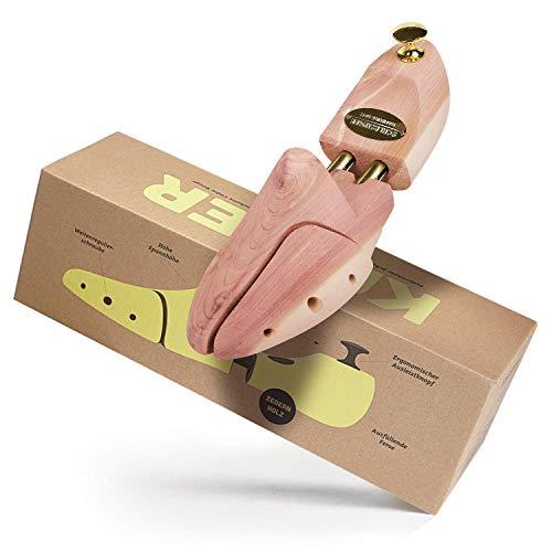 Schlesinger - Premium Schuhspanner aus edlem Zedernholz für Herrenschuhe. Modell Kaiser. Größe 45/46. Gold Knauf.