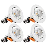 TORCHSTAR 10W 4-Inch High CRI Dimmable Gimbal Retrofit LED Recessed Light, 75W Eqv, Energy Star, Title24, UL-Classified 3000K Soft White, Remodel Adjustable Ceiling Light Downlight, Pack of 4