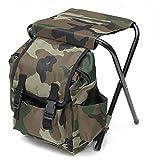 Silla de mochila portátil Camuflaje portátil resistente a la mochila plegable resistente a la mochila para la pesca al aire libre que caza la escalada