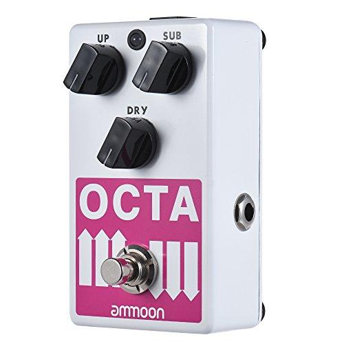 Ammoon Effekt Pedal Gitarren Effektgerät OCTA-Multitoneffekte für elektronische Gitarre unterstützen SUB/UP-Oktave und trockenes Signal Full Metal Case mit True Bypass