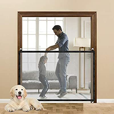 Magic Pet Gate for Dog Cat, Portable Folding Mesh Safety Dog Gate Install Anywhere, Providing a Safe Enclosure to Play and Rest, Dog Gate for Indoor Outdoor Doorways & Stair (Black)