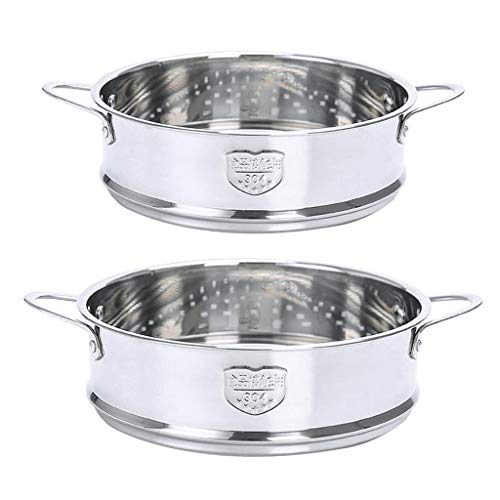 freneci 2-Pack Veggie Steamer Baskets con Asa de Acero Inoxidable 6.3in 7.9in