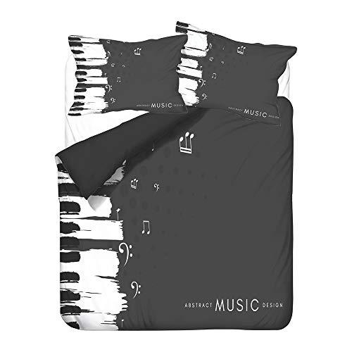 Hiser Juego de Ropa de Cama de 3 Piezas - Juego de Fundas de Edredón - Microfibra de 1 Funda Nórdica 2 Funda de Almohada - Niño 3D Música Nota Impresión (Piano Negro,200x200cm)