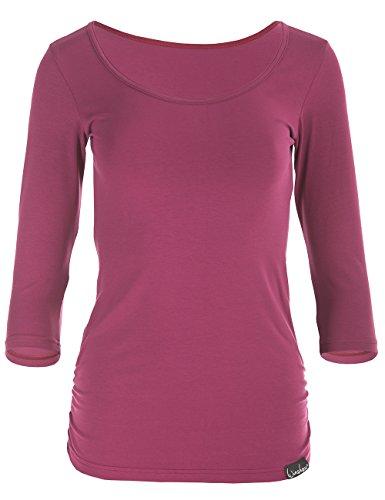 WINSHAPE Damen Fitness Yoga 3/4-arm Shirt, Berry-Love, M
