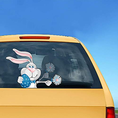 PHLPS Cartoon Easter Bunny Wiper Nette Häschen Fenster Auto Umzug Aufkleber Ostern Auto Aufkleber Wischer Dekoration Selbstklebende Abziehbilder Wasserdicht (Kaninchen hält Blumen) (Color : EIN)