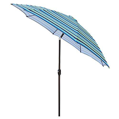 HWF Sombrilla Rayas Azules Sombrilla de Patio de 9 pies con manivela e inclinación, Portátil Protección UV 50+ Paraguas al Aire Libre para Garden Beach Travel