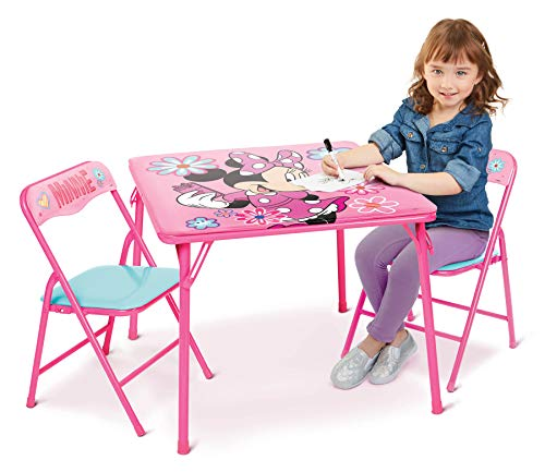Minnie Mouse Activity Table Sets – Folding Childrens Table & Chair Set – Includes 2 Kid Chairs with Non Skid Rubber Feet & Padded Seats – Sturdy Metal Construction