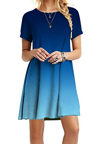 OMZIN Sommerkleid Sexykleider Basic Kleid Strandkleider Sexykleid für Damen Elegant Partykleid Kurzarm Rundhals Blau 5XL