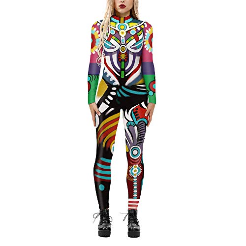 Designs Mujeres Adultos Halloween Carnaval Skeleton Catsuit Outfits Cool 3D Graphic Impreso Cosplay Esqueleto Mono Disfraz Jumpsuit Stretch Skinny Party Playsuits Body Slim Fit,05-S
