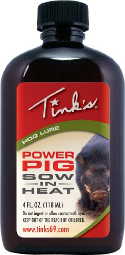 Tink's Power Pig Sow-in-Heat Attractant | 4 Oz Bottle | 100% Natural Hog Urine, Sow Scented Hog Lure, Hunting Accessories, Boar Scents, Wild Hog Attractants | Easy to Use Squirt Top