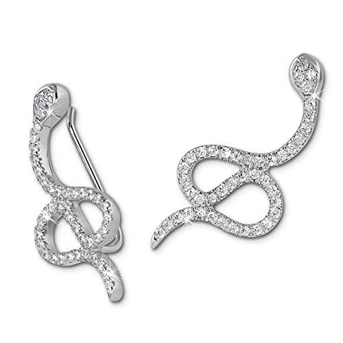 Plata Dream Ear Cuff serpiente pendientes Clip plata de ley 925mujer de joyas gso452W