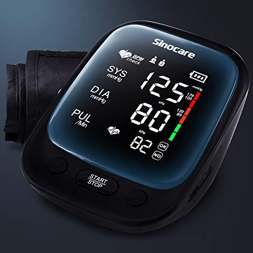 sinocare Tensiómetro de Brazo Digital, Automática de la Presión Arterial y pulso de frecuencia cardíaca detección, Brazalete grande de 22-42 cm, 2 memorias de usuario (2 * 90)