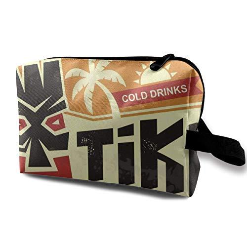 Tiki Bar Vintage Tin Sign avec Masque hawaïen Tiki Hommes et Femmes Sac de Rangement de Voyage cosmétique de Grande capacité, Sac cosmétique Portable Sac de Rangement Accory