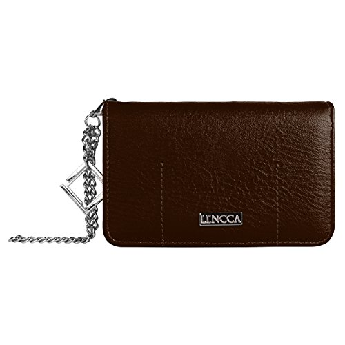 Lencca Kymira Vegan Leather Smartphone Clutch Wallet Purse with Removable Chain Wrist Strap - Brown/Black