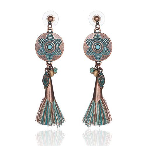 Sunwd Mujer Pendientes, Antique Vintage Bohemian Ethnic Tassel Fringe Leaf Stones Earrings For Women Girls Anniversary Wedding Party Jewelry Charms E020309