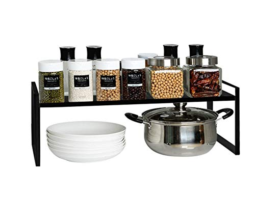 KZOBYD Estantería de cocina extensible plegable, armario de cocina, estante de especias, organizador para vajilla y reservas apilable, organizador para más superficies (negro, S)