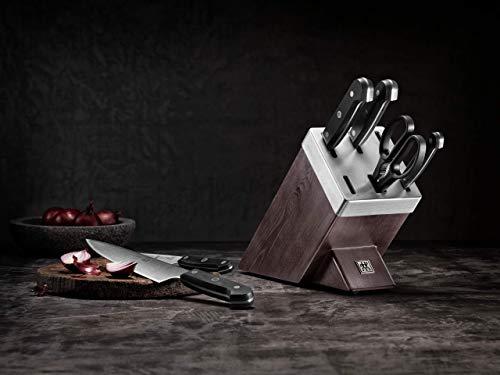 ZWILLING Bloque de cuchillos auto-afilables de 7 piezas, Bloque de madera, Cuchillos y tijeras con mango especial de…