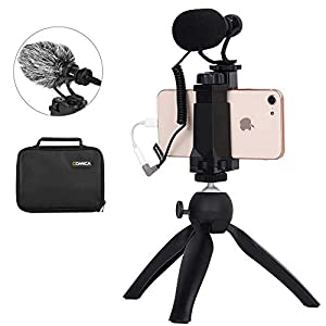 Comica CVM-VM10-K2 Smartphone Microphone Kit with Tripod, Microphone for iPhone 6, 6S, 7, 8, X, XS, XS Max and Android Smartphones - External Video Shotgun mic for TikTok Vlogging Equipment